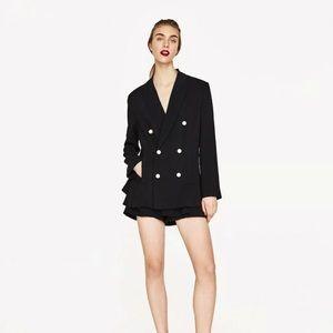Zara Woman Oversized Pearl Button Boyfriend Blazer